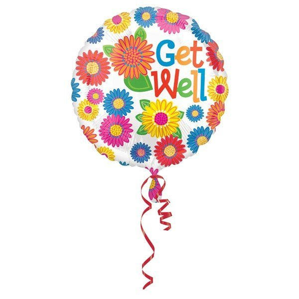 Anagram 18 Inch Circle Foil Balloon - Primary Get Well