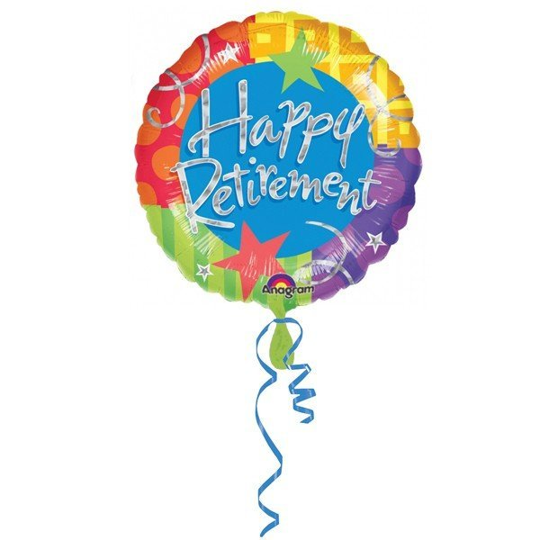 Anagram 18 Inch Circle Foil Balloon - Prismatic Happy Retirement
