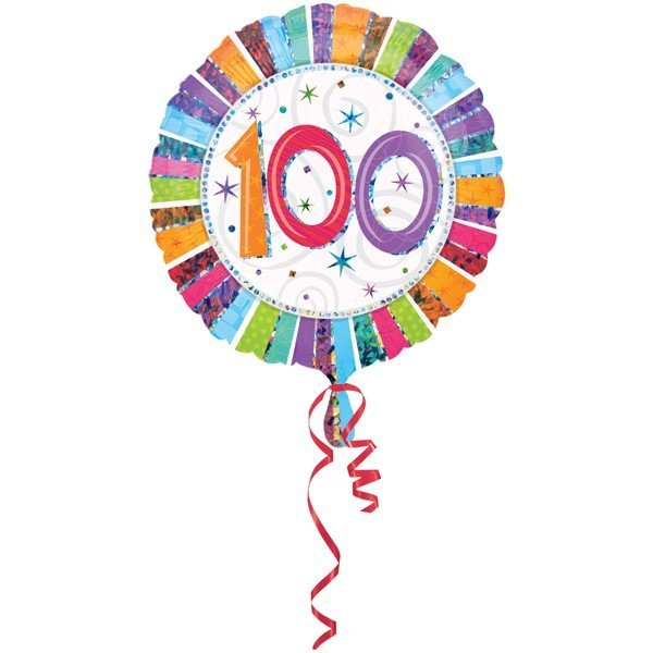 Anagram 18 Inch Circle Foil Balloon - Prismatic Radiant Birthday 100