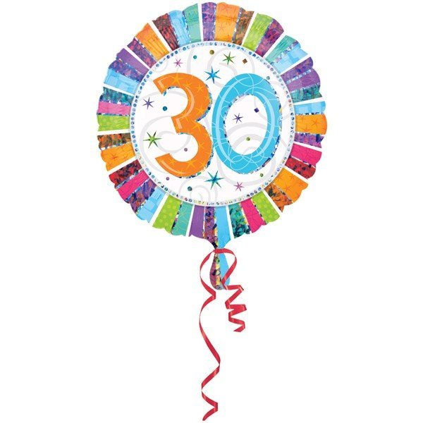 Anagram 18 Inch Circle Foil Balloon - Prismatic Radiant Birthday 30