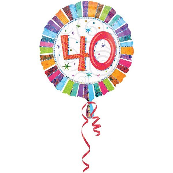 Anagram 18 Inch Circle Foil Balloon - Prismatic Radiant Birthday 40