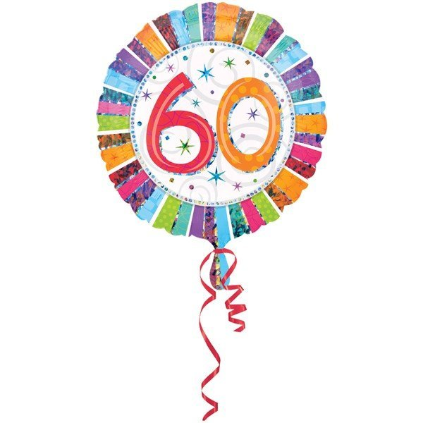 Anagram 18 Inch Circle Foil Balloon - Prismatic Radiant Birthday 60