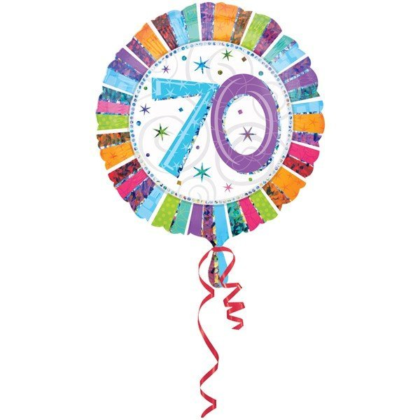 Anagram 18 Inch Circle Foil Balloon - Prismatic Radiant Birthday 70