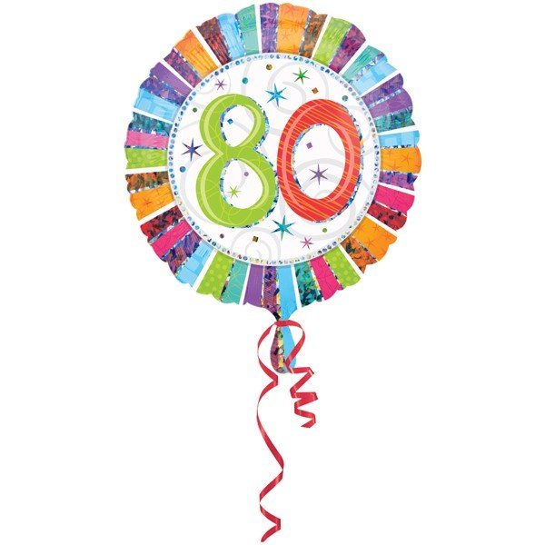Anagram 18 Inch Circle Foil Balloon - Prismatic Radiant Birthday 80