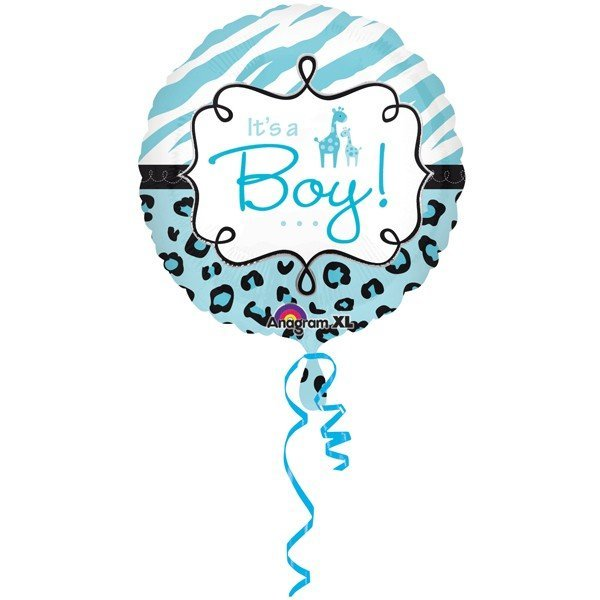 Anagram 18 Inch Circle Foil Balloon - Safari Baby Boy