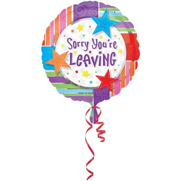 Anagram 18 Inch Circle Foil Balloon - Sorry Youre Leaving