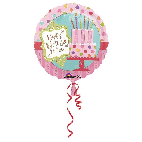 Anagram 18 Inch Circle Foil Balloon - Sweet Stuff Cake Happy Birthday