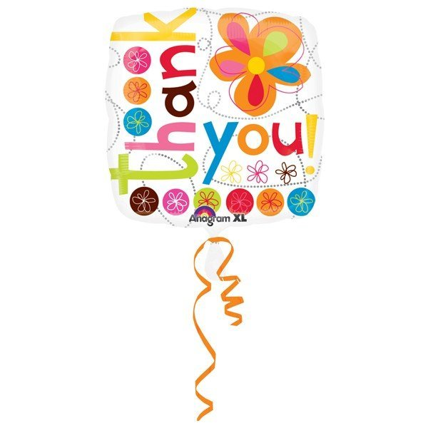 Anagram 18 Inch Circle Foil Balloon - Thank You Colourful Flowers