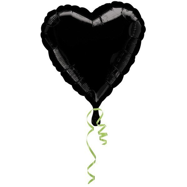 Anagram 18 Inch Heart Foil Balloon - Black/Black