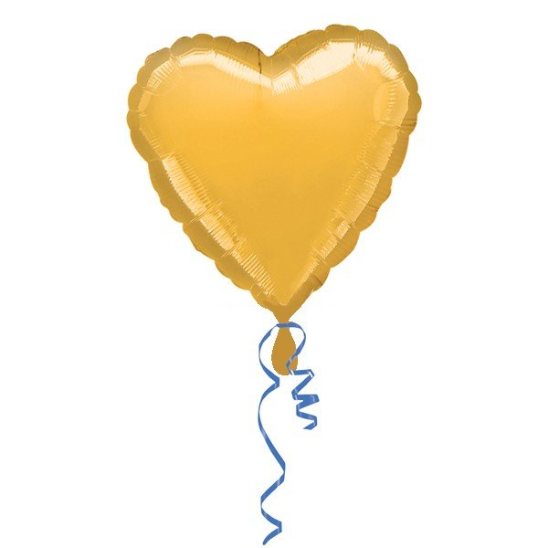Anagram 18 Inch Heart Foil Balloon - Gold/Gold
