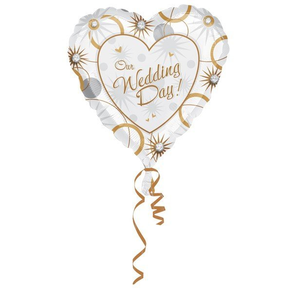 Anagram 18 Inch Heart Foil Balloon - Our Wedding Day