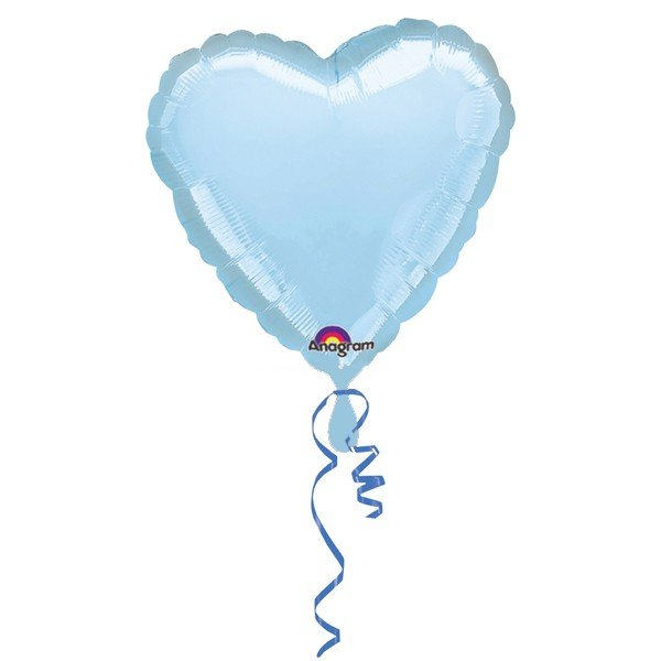 Anagram 18 Inch Heart Foil Balloon - Pastle Blue/Pastle Blue