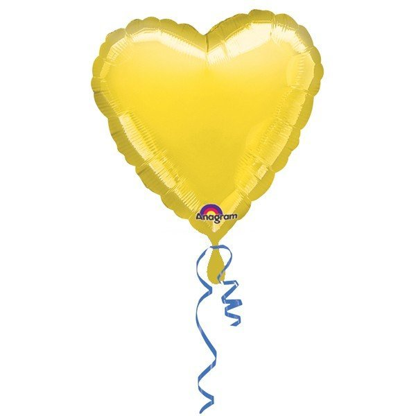 Anagram 18 Inch Heart Foil Balloon - Yellow/Yellow