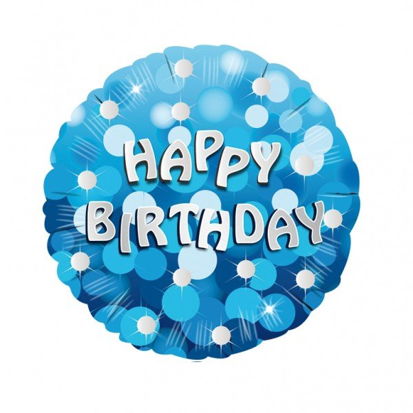 Anagram 18 Inch Holo Everts Foil Balloon - Birthday Blue