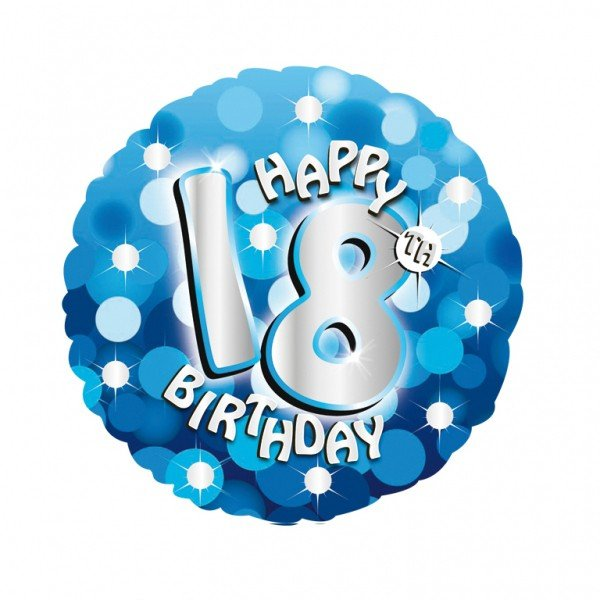 Anagram 18 Inch Holo Everts Foil Balloon - Birthday Blue 18
