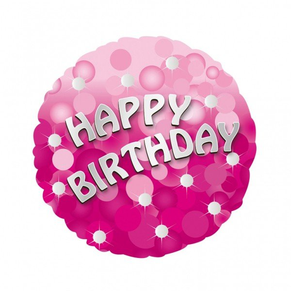 Anagram 18 Inch Holo Everts Foil Balloon - Birthday Pink