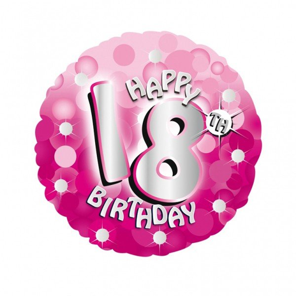 Anagram 18 Inch Holo Everts Foil Balloon - Birthday Pink 18