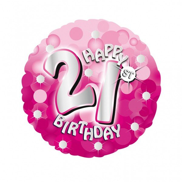 Anagram 18 Inch Holo Everts Foil Balloon - Birthday Pink 21