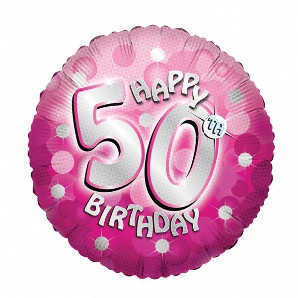Anagram 18 Inch Holo Everts Foil Balloon - Birthday Pink 50
