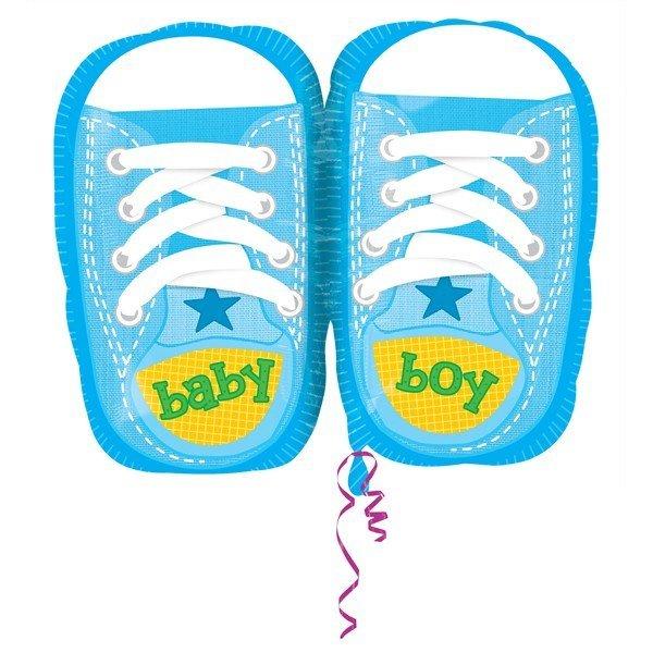 Anagram 18 Inch Junior Shape Foil Balloon - Baby Boy Sporty Blue Kicks
