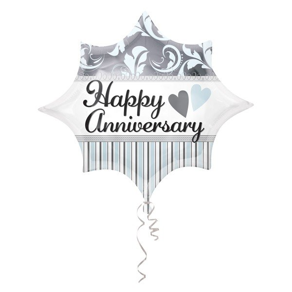 Anagram 18 Inch Junior Shape Foil Balloon - Elegant Happy Anniversary