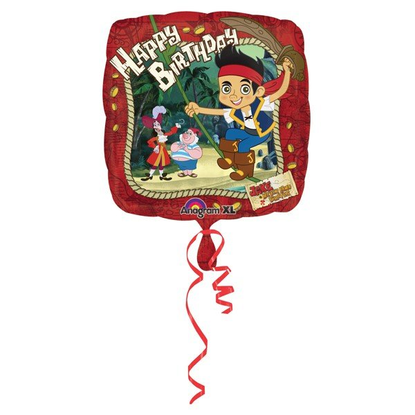 Anagram 18 Inch Square Foil Balloon - Jake & NeverLand Pirates Happy Birthday