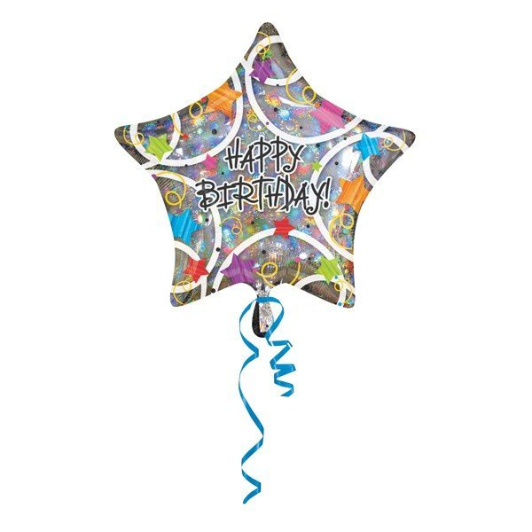 Anagram 18 Inch Star Foil Balloon - Happy Birthday Stars