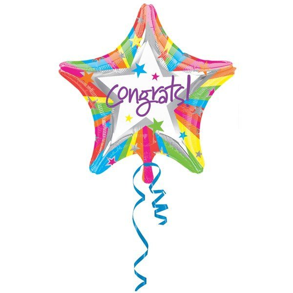 Anagram 18 Inch Star Foil Balloon - Rainbow Congrats