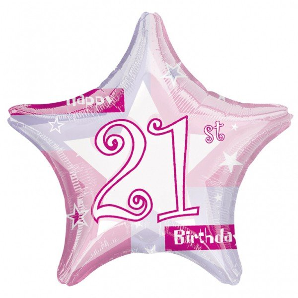 Anagram 19 Inch Star Foil Balloon - Pink Shimmer 21