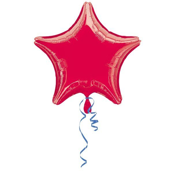 Anagram 19 Inch Star Foil Balloon - Red/Red