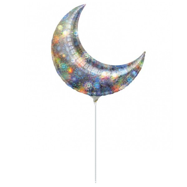 Anagram 35 Inch Crescent Foil Balloon - Holo Fireworks