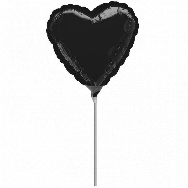 Anagram 4 Inch Heart Foil Balloon - Black