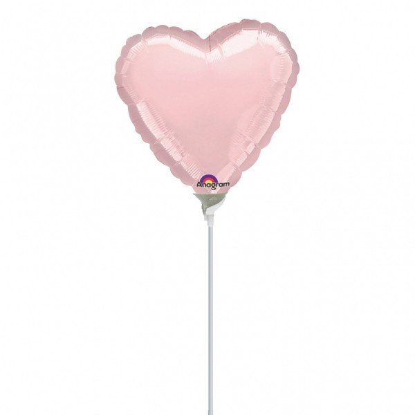 Anagram 4 Inch Heart Foil Balloon - Pastel Pink