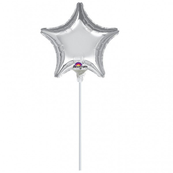 Anagram 4 Inch Star Foil Balloon - Silver