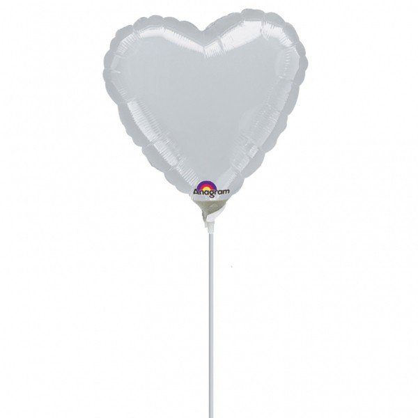 Anagram 9 Inch Heart Foil Balloon - Silver