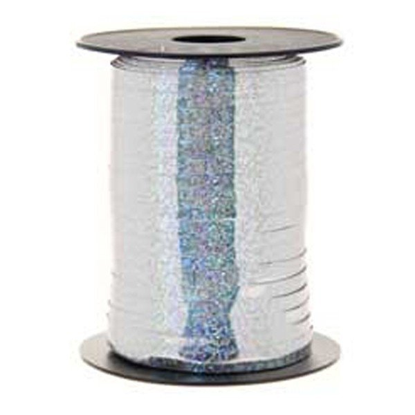 Apac Holographic 250 M Curling Ribbon - Silver