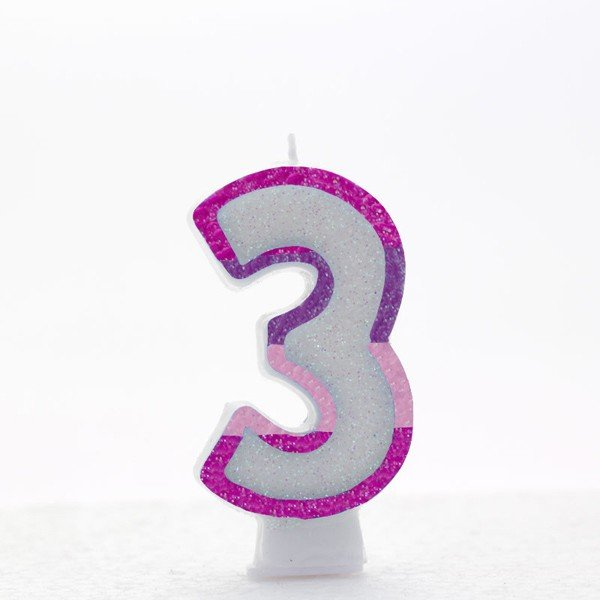 Apac Pink Number Candles - 3