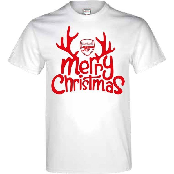 Arsenal Mens Merry Christmas T-Shirt - L