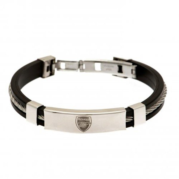 Arsenal Silver Inlay Silicone Bracelet