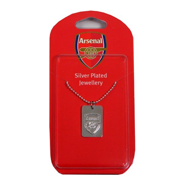Arsenal Silver Plated Dog Tag and Chain