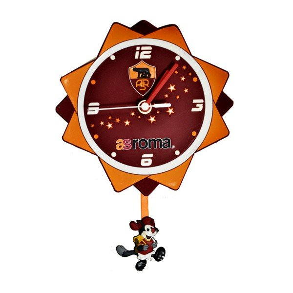 AS Roma PVC Pendulum Wall Clock - Crest