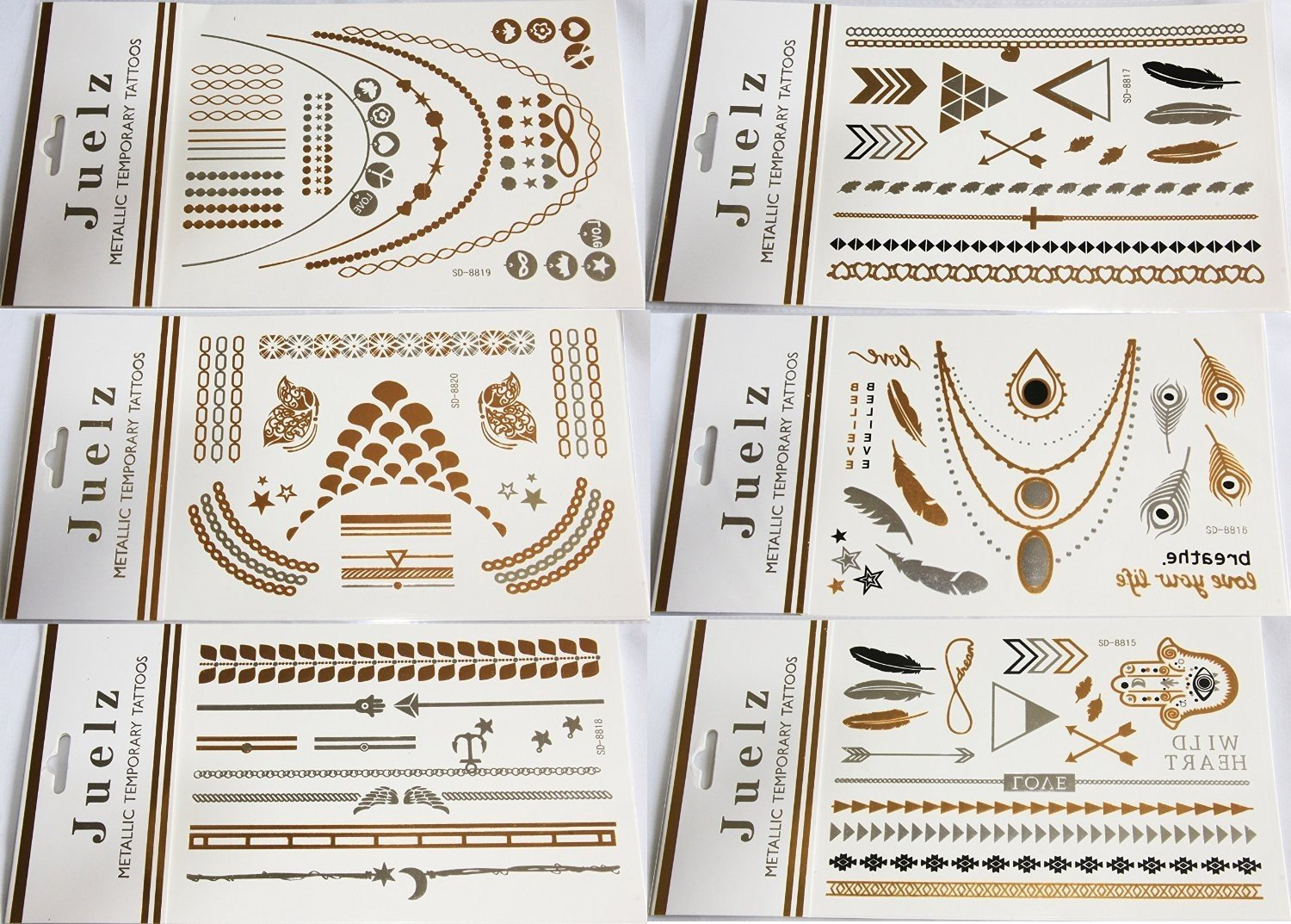 2 Packs Of Assorted Jeulz Metallic Silver Gold Temporary Tattoos