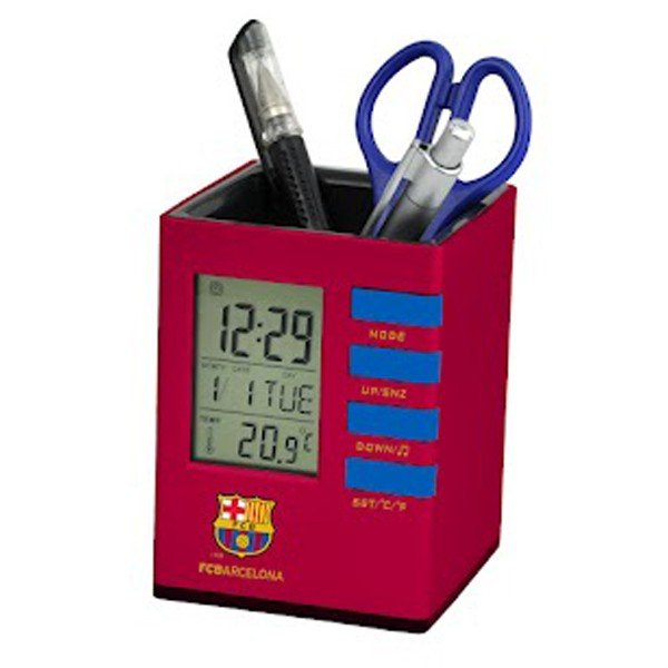 Barcelona Stationery LCD Desk Clock - Burgundy