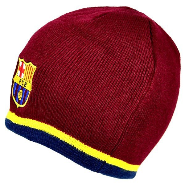 Barcelona Yellow Stripe Beanie Hat - Burgundy