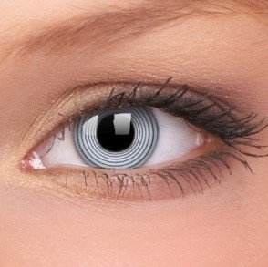 Black Spiral Crazy Colour Contact Lenses (1 Year Wear)
