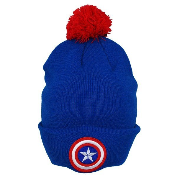 Captain America Bobble Cuff Knitted Hat - Adult