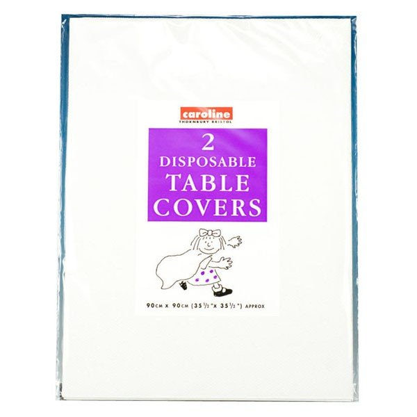 Caroline Square Paper Tablecovers - White