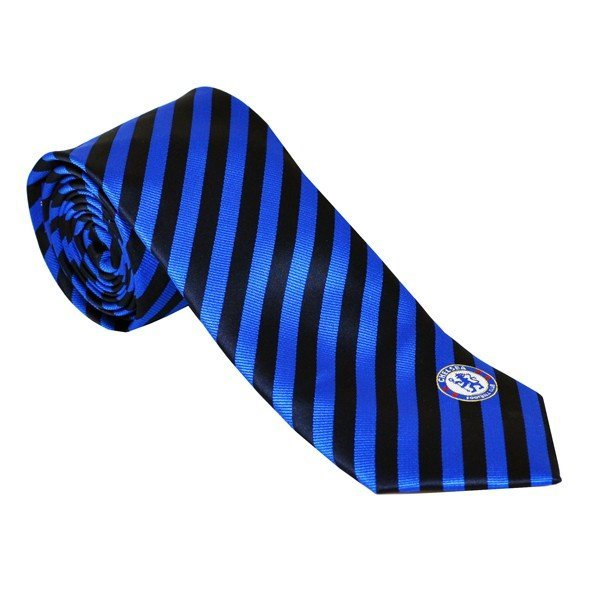 Chelsea Neck Tie Black Blue Stripe