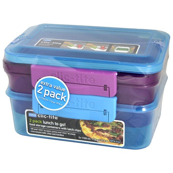 Clic-Tite 2  Pack  1.1L Sandwich Box - Turquoise/Berry