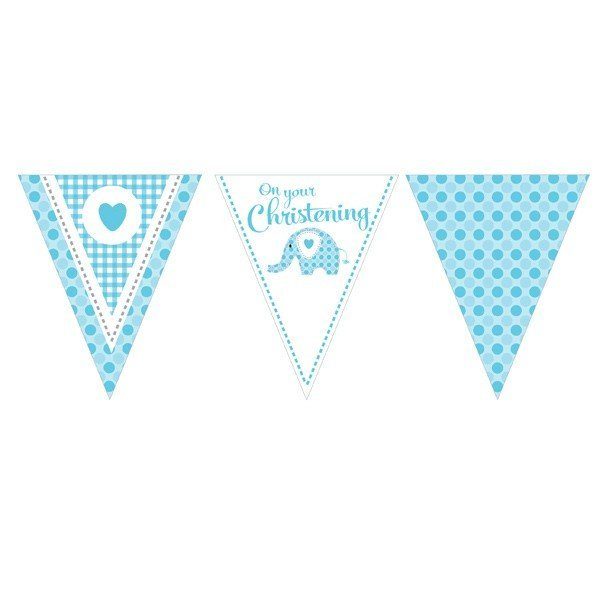 Creative Party 12 Foot Christening Banner - Elephant Blue